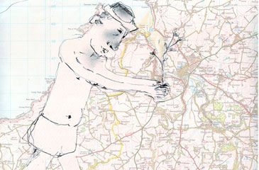 Drawn figure on map of West Wales
