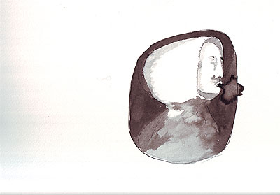 Ink on paper, hooded figure on grey background